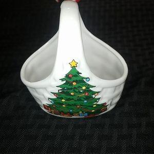 Vintage Porcelain Christmas Basket Soap Dish